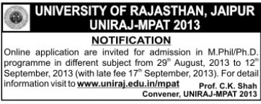 M Phil and PhD (University of Rajasthan)