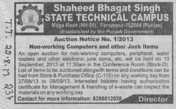 Auction for Junk items (Shaheed Bhagat Singh State (SBBS) Technical Campus)