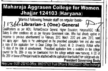 Librarian (Maharaja Aggrasen College for Women)