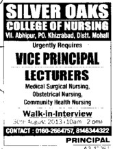 Vice Principal and Lecturer (Silver Oaks College of Nursing)