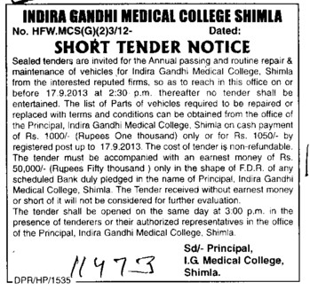 Repair of Vehicles (Indira Gandhi Medical College (IGMC))