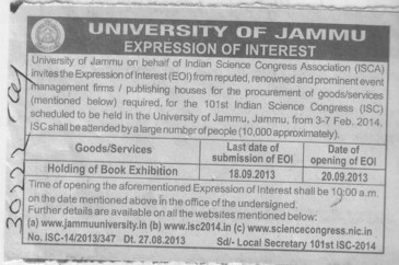 Holding of Book exhibition (Jammu University)