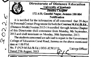 B Ed and M Ed course (Kashmir University)