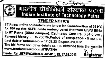 Const of XLPE cables (Indian Institute of Technology IIT)
