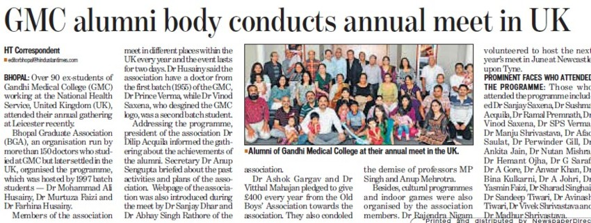 Alumni body conducts annual meet in UK (Gandhi Medical College)