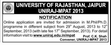 M Phil and PhD programme (University of Rajasthan)