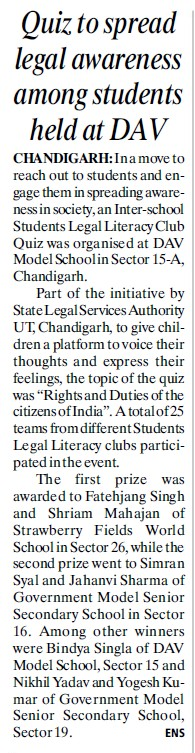 Quiz to spread legal awareness among students (DAV College Sector 10)