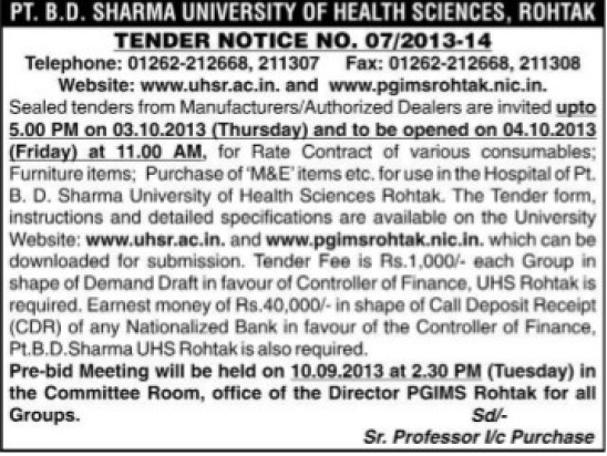Furniture Items (Pt BD Sharma University of Health Sciences (BDSUHS))