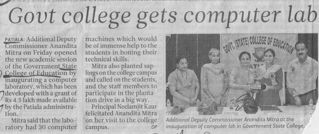 Govt College gets computer lab (Government College of Education)
