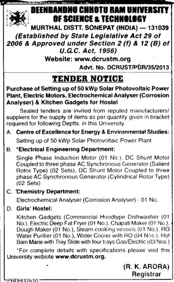 Solar Photovoltaic Power Plant (Deenbandhu Chhotu Ram University of Science and Technology)