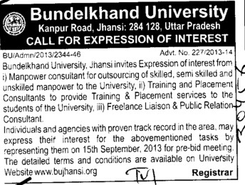 Supply of Manpower consultant (Bundelkhand University)