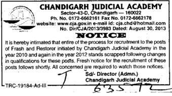 Restorer initiated (Chandigarh Judicial Academy)