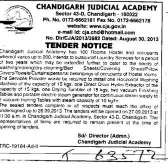 Laundry services (Chandigarh Judicial Academy)