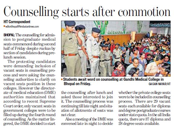 Counselling starts after commotion (Gandhi Medical College)