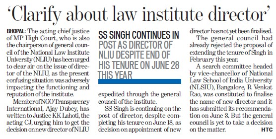 Clarify about law institute director (National Law Institute University (NLIU))