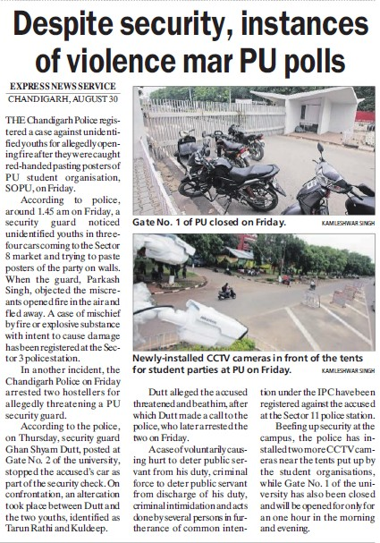 Despite security, instances of violence mar PU polls (Students of Panjab University (SOPU))
