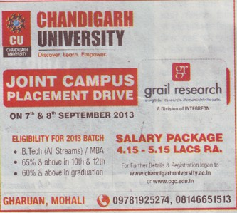 Joint Placement campus drive (Chandigarh University)