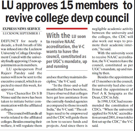 15 members to revive college devp council (Lucknow University)