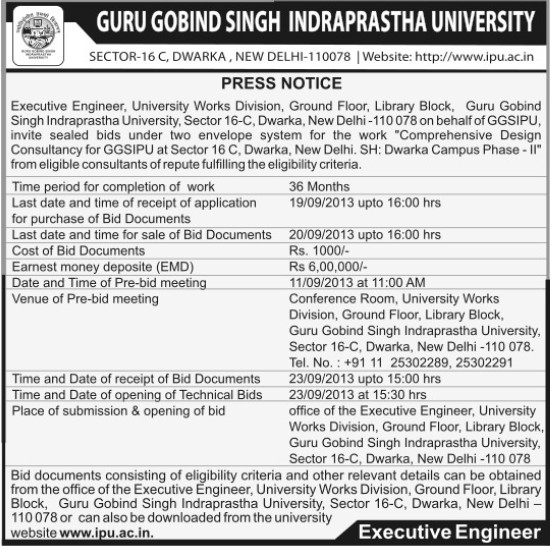 Design Consultancy for Dwarka Campus (Guru Gobind Singh Indraprastha University GGSIP)