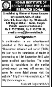 Tender changes for Flurescent activated (Indian Institute of Science Education and Research (IISER))