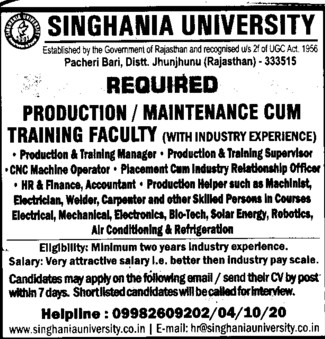 Production cum training faculty (Singhania University)
