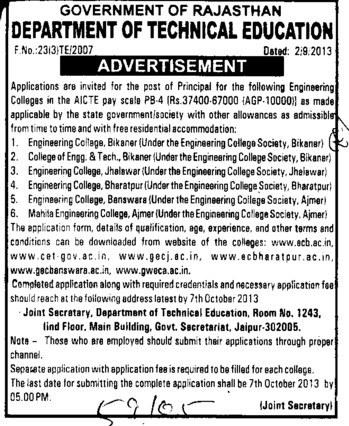 Principal on permanent basis (Rajasthan Board of Technical Education)