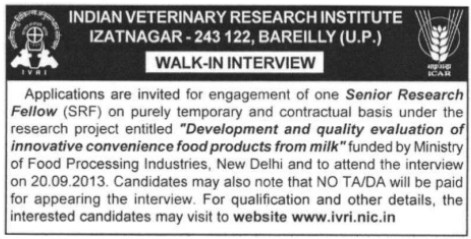 Senior Research Fellow (Indian Veterinary Research Institute IVRI)
