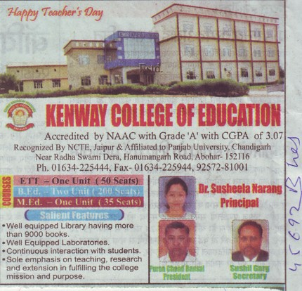 ETT and B Ed courses (Kenway College of Education)