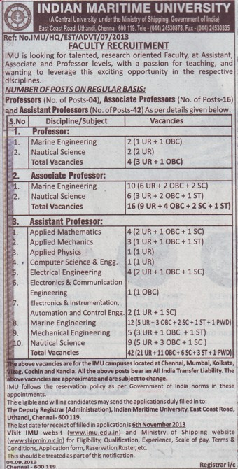 Asstt Professor (Indian Maritime University)