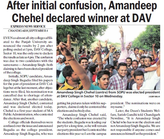Amandeep Chehel declared winner at DAV (DAV College Sector 10)