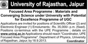 Scientific Officer (University of Rajasthan)