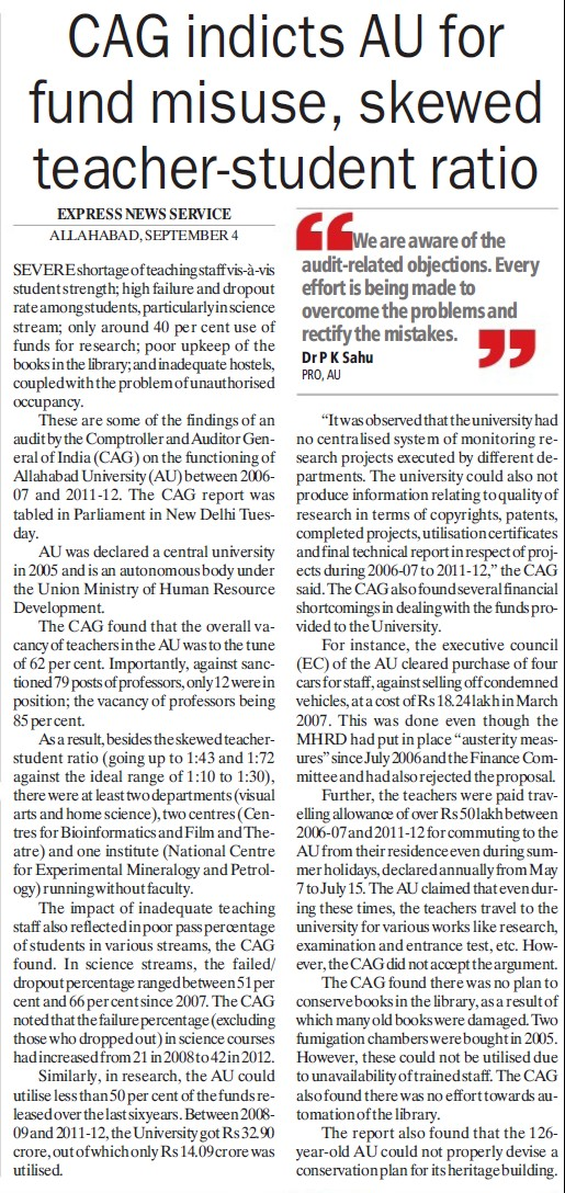CAG indicts AU for fund misuse (University of Allahabad)