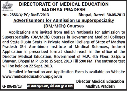 DM and MCh courses (Directorate of Medical Education Madhya Pradesh)