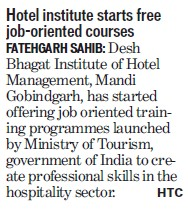 Free job orientation courses (Desh Bhagat Institute of Hotel Management and Catering Technology)