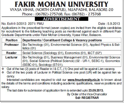 Professor, Reader and Lecturer (Fakir Mohan University)