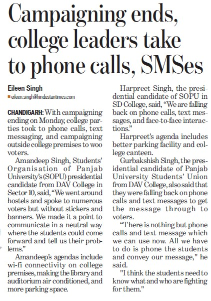 Campaigning ends, college leaders take phone calls, SMSes (DAV College Sector 10)