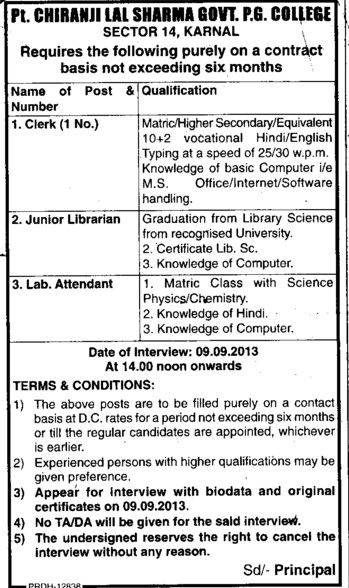Clerk and Lab attendent (Government Post Graduate College)