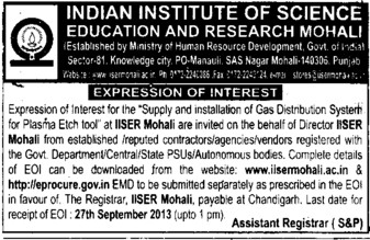 Supply of Gas distribution system (Indian Institute of Science Education and Research (IISER))