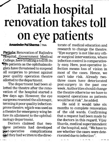 Patiala Hospital renovation takes toll on eye patients (Government Medical College and Rajindra Hospital)