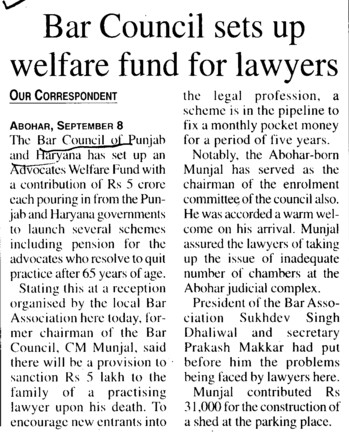 Bar Council sets up welfare fund for lawyers (Bar Council of Punjab and Haryana)