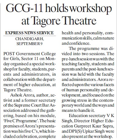 College holds workshop at Tagore Theatre (Government College for Girls (Sector 11))
