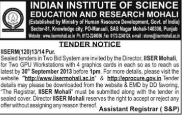 Supply of GPU Workstations (Indian Institute of Science Education and Research (IISER))