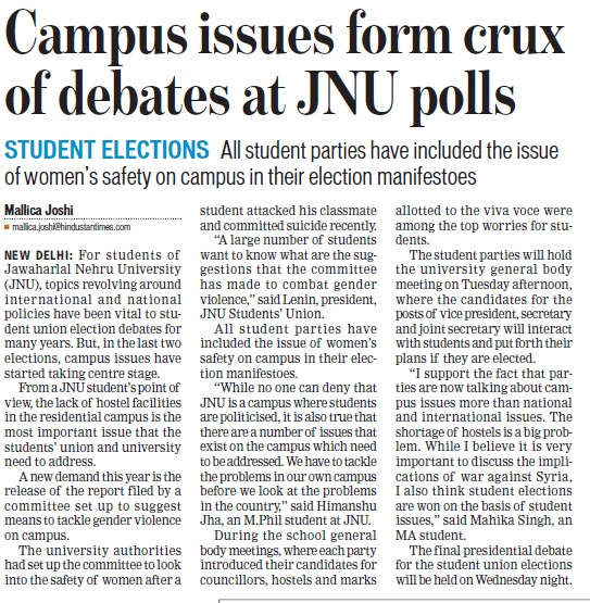 Campus issues form crux of debates at JNU polls (Jawaharlal Nehru University)