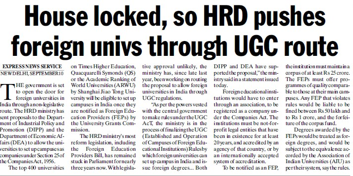 HRD pushes foreign univs through UGC route (University Grants Commission (UGC))