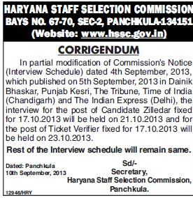 Candidate Zilledar (Haryana Staff Selection Commission (HSSC))