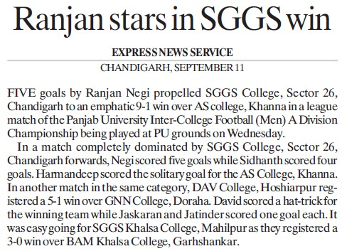 Ranjan stars in SGGS win (SGGS Khalsa College Sector 26)