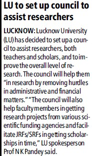 LU to set up council to asstt teachers (Lucknow University)