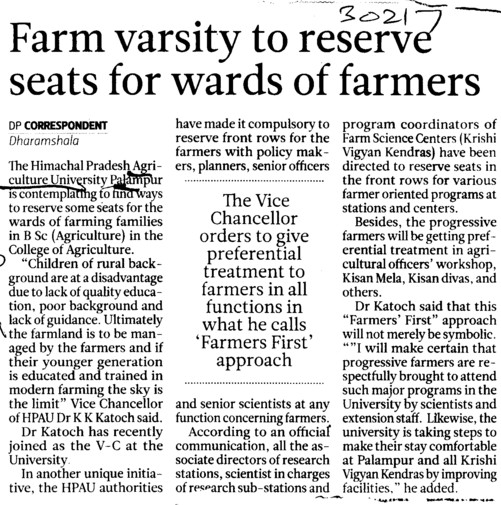 Farm Varsity to reserve seats for wards of farmers (Chaudhary Sarwan Kumar (CSK) Himachal Pradesh Agricultural University)