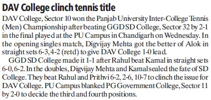 DAV College clinch tennis title (DAV College Sector 10)