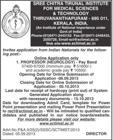 Professor in Neurology (Sree Chitra Tirunal Institute For Medical Sciences and Technology)